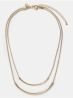 Textured Double Bar Necklace