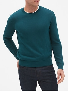 Textured-Sleeve Crew Neck Sweater