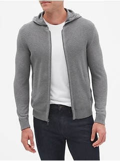 Textured Full Zip Sweater Hoodie