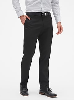 Slim-Fit Wrinkle Resistant Black Pant