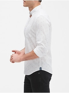 Print Slim-Fit Untucked Oxford Shirt