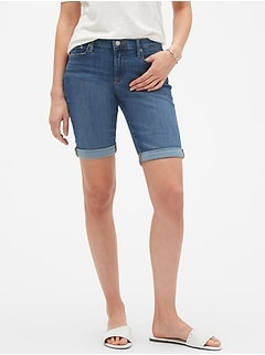 Medium Wash Denim Bermuda Shorts - 10 inch inseam
