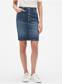 Denim Button Through Pencil Skirt