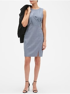 Asymmetrical Windowpane Sheath Dress