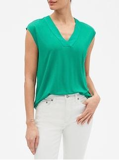 V-Neck Cap-Sleeve T Shirt