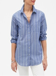 Stripe Boyfriend Yarn Dyed Shirt