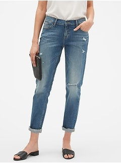 Destructed Medium Wash Girlfriend Jean