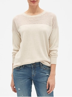 Mesh Yoke Crew Neck Sweater