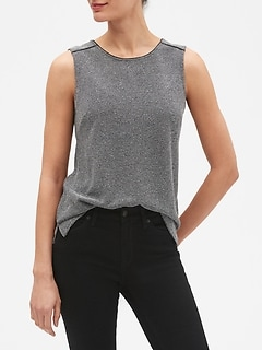 4da86914b1304 Discounted Women s Clothing  Clearance  . Tops   Shirts · Sleeveless  Textured Split Hem Top