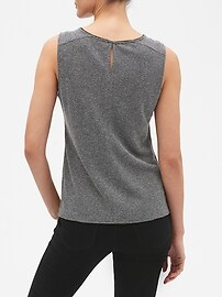 0c33aa79aa4da7 Sleeveless Textured Split Hem Top