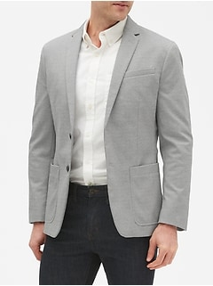 Slim-Fit Grey Knit Blazer