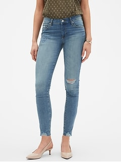 Soft Touch Light Wash Destructed Hem Skinny Jean