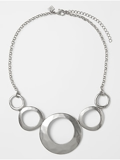 Silver Circle Hammered Necklace