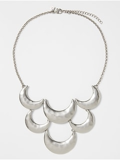 Silver Scallop Hammered Necklace