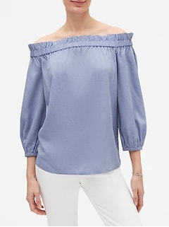 Chambray Off-the-Shoulder Blouse