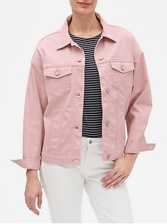Pink Oversized Denim Jean Jacket