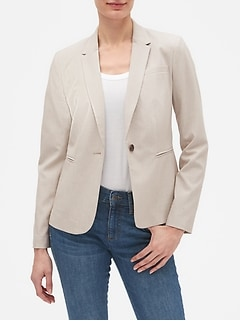 Machine Washable Neutral Mini Stripe Blazer