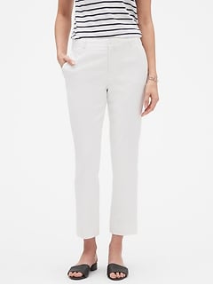 Avery White Stretch Linen Tailored Ankle Pant