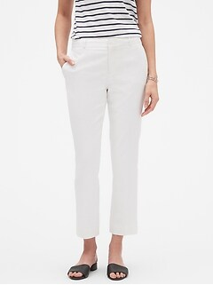 Petite Avery White Stretch Linen Tailored Ankle Pant
