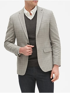Slim-Fit Grey Plaid Blazer