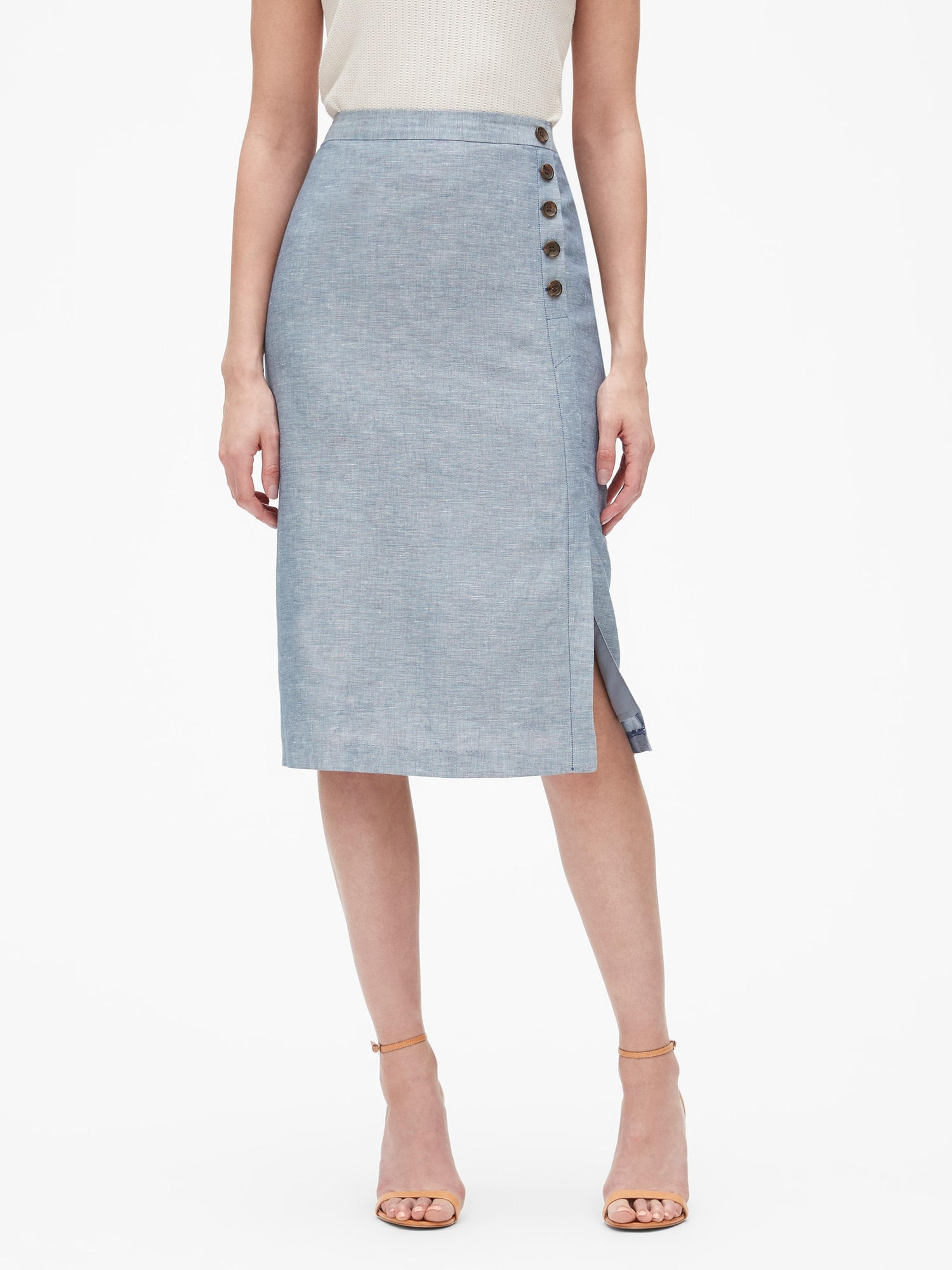 891a8f3523 Linen Button Wrap Midi Skirt | Banana Republic Factory