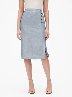 Linen Button Wrap Midi Skirt