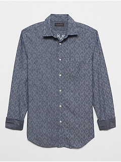 Slim-Fit Soft-Wash Stretch Print Shirt