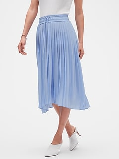 Handkerchief Hem Pleated Midi Skirt