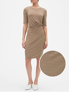 Geo Print Ruched Sheath Dress