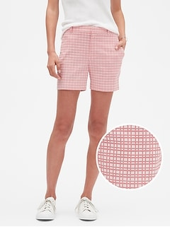 Grid Jacquard Tailored Shorts - 5 inch inseam