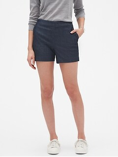 Petite Chambray Sailor Shorts - 4 inch inseam