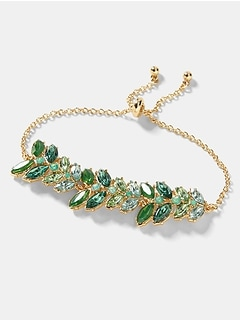 Green Stone Leaf Slider Bracelet