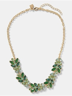 Green Stone Leaf Statement Necklace