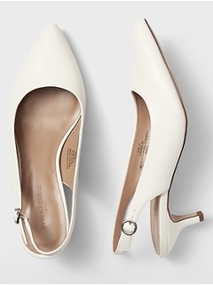 White Kitten Heel Slingback Pump