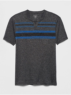 Quick Dry Chest-Stripe Notch Neck T Shirt