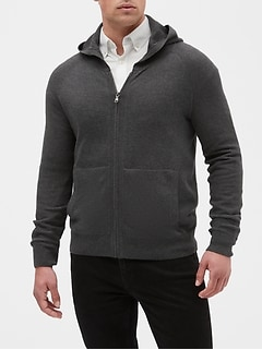 Zip-Up Pique Sweater Hoodie