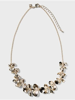 Short Floral Bib Necklace