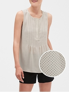 Print Pleated Front Tank