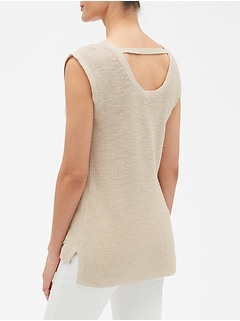 Ribbed Stitch Tunic V-Neck Sweater