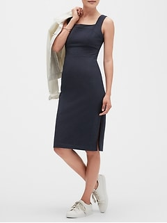Square Neck Midi Sheath Dress