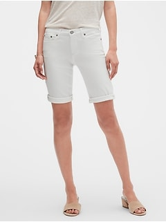 White Denim Bermuda Shorts - 10 inch inseam