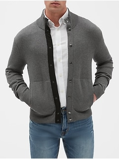 Snap Mock Neck Sweater Jacket