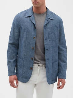 Slim-Fit Chambray Linen Blend Blazer