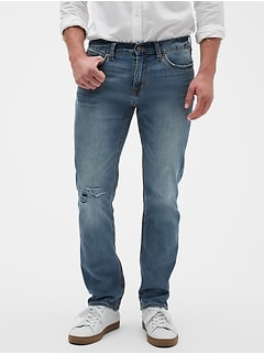 Slim-Fit Stretch Summer-Weight Light Destructed Jean