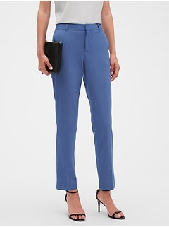 Petite Machine Washable Curvy Ryan Chambray Slim Straight Suit Pant