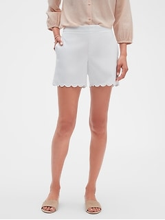 Tailored Pique Scallop Hem Shorts - 5 inch inseam