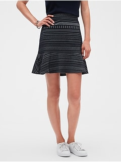 Jacquard Knit Fluted Hem Fit and Flare Skirt