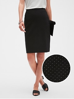 Petite Textured Pindot Knit Pencil Skirt