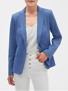 Petite Machine Washable Chambray Cutaway Blazer