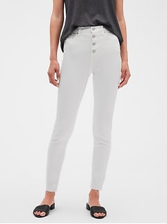 Petite High Rise Button Front Raw Hem White Skinny Jean